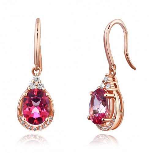 14K Rose Gold Dangle 1.6 Ct Natural Pink Topaz Earrings 0.185 Ct Diamond Wedding