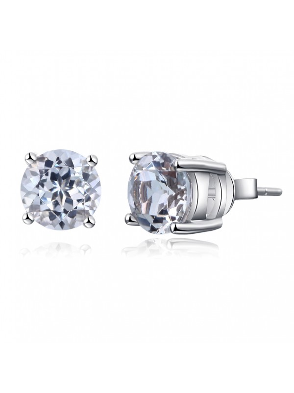 Solid 14K White Gold Stud Natural Clear Topaz Earrings