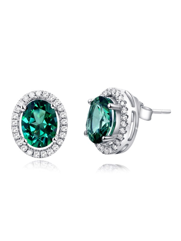 14K White Gold Stud Natural 1.6 Ct Oval Green Topaz Earrings 0.28 Ct Diamonds