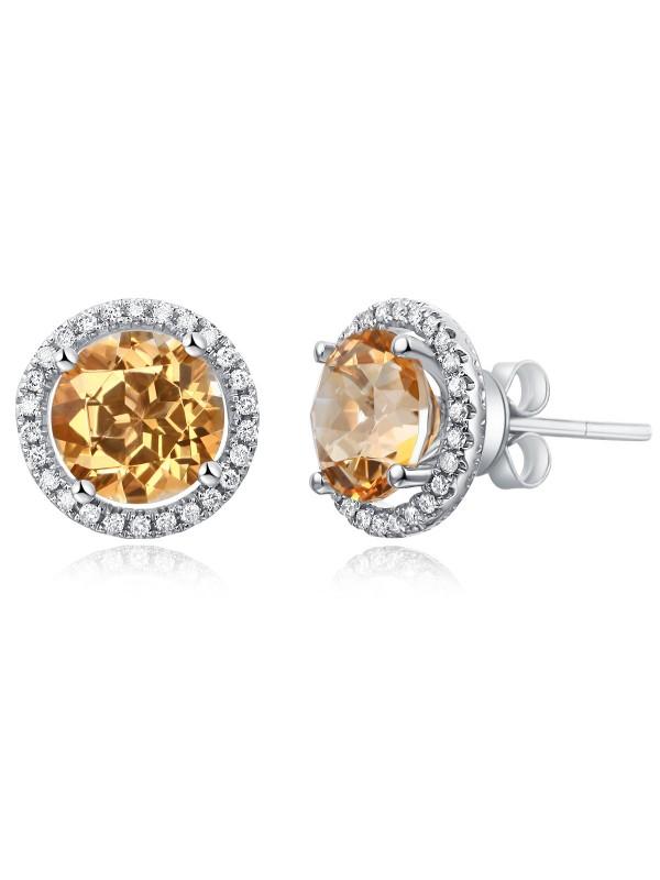 14K White Gold Stud Natural 2.5Ct Yellow Topaz Earrings Halo 0.285 Ct Diamonds