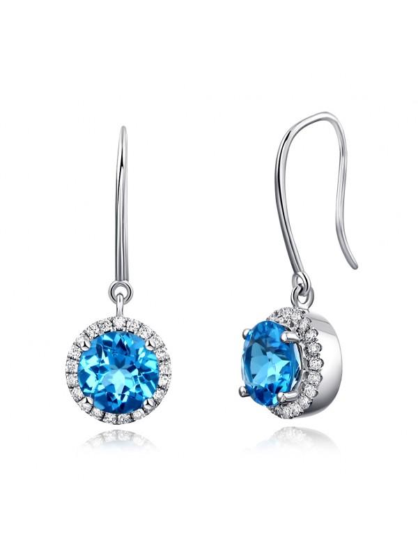 Dangle 14K White Gold Swiss Blue Topaz Earrings Natural 0.298 Ct Diamonds