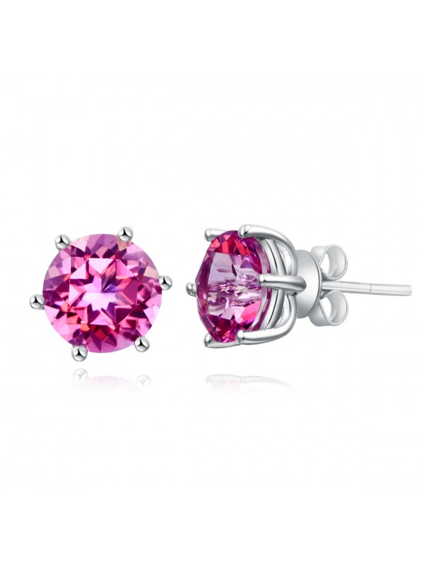 14K White Gold Stud 2.5 Ct Natural Pink Topaz Earrings 6 Claws Prong Classic