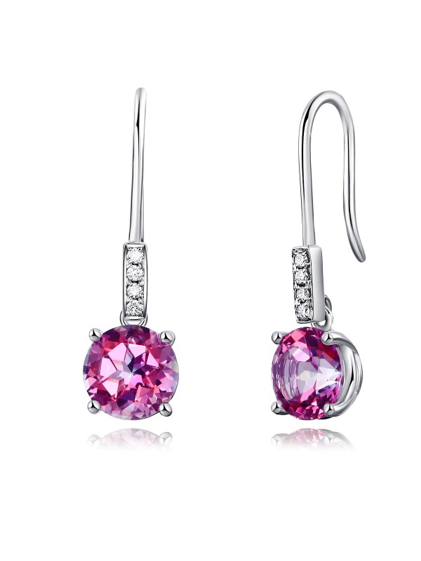 14K White Gold Stud 2.5 Ct Natural Pink Topaz Earrings