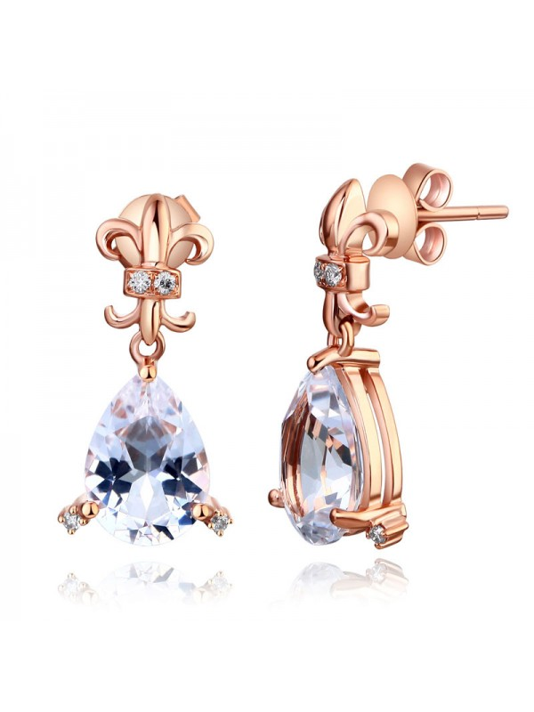 Dangle 14K Rose Gold 3.5 Ct Clear Pear Topaz Earrings Natural 0.07 Ct Diamonds