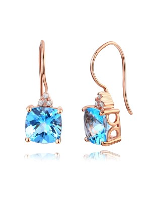 14K Rose Gold Cushion 2.5 Carats  Swiss Blue Topaz Earrings 0.07Ct Natural Diamonds