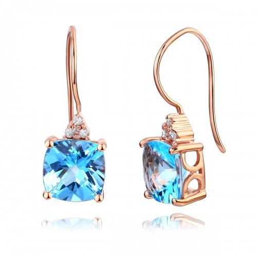14K Rose Gold Cushion 2.5 Carats  Swiss Blue Topaz Earrings 0.07Ct Natural Diamonds