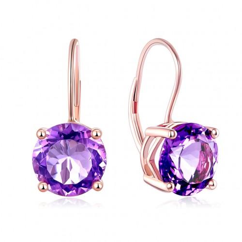 14K Rose Gold Drop Dangle 2 Carats  Amethyst Earrings