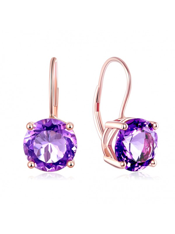 14K Rose Gold Drop Dangle 2 Carats  Amethyst Earrings