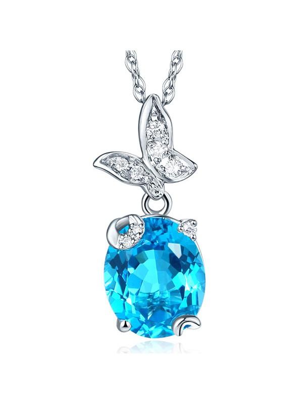 14K White Gold 3. Ct Swiss Blue Topaz Butterfly Pendant Necklace 0.17 Ct Diamond