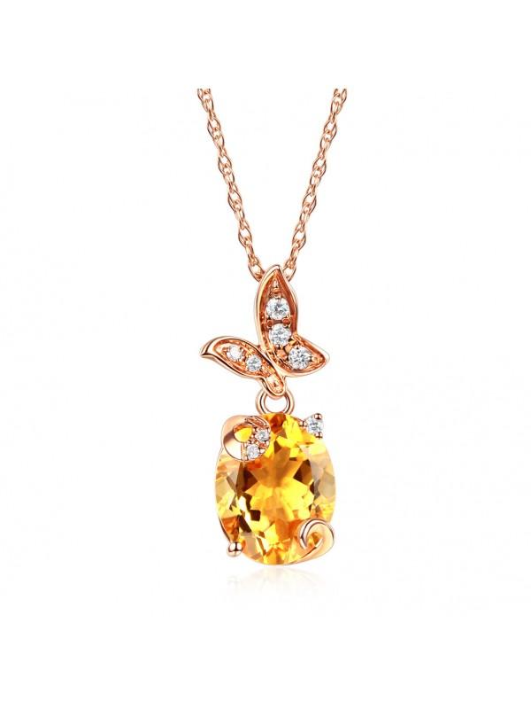 14K Rose Gold 2 Ct Citrine Butterfly Pendant Necklace 0.17 Ct Diamond