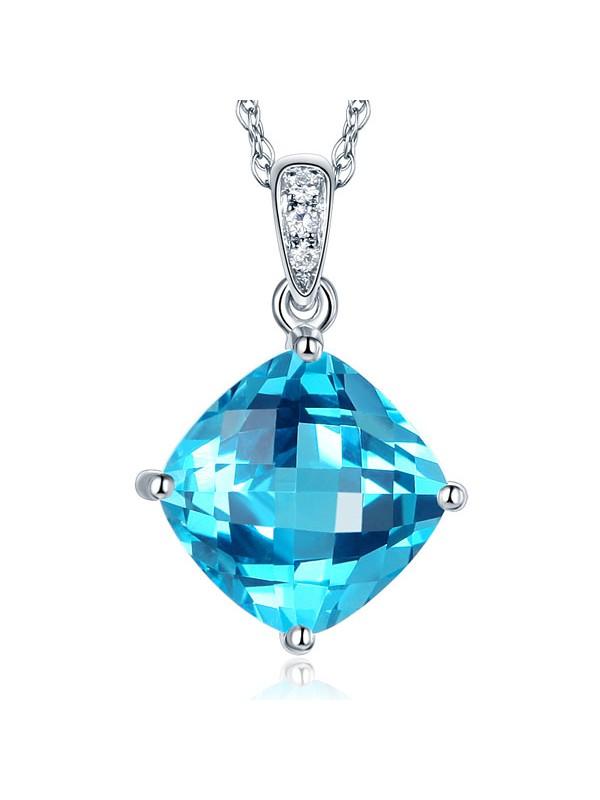 14K White Gold 4 Ct Cushion Swiss Blue Topaz Pendant Necklace 0.03 Ct Diamond