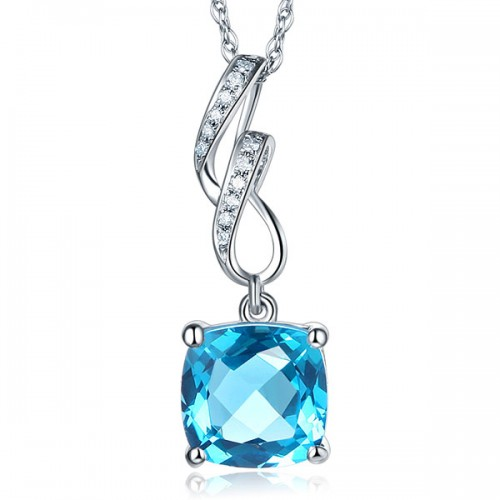 14K White Gold 2.5 Ct Cushion Swiss Blue Topaz Pendant Necklace