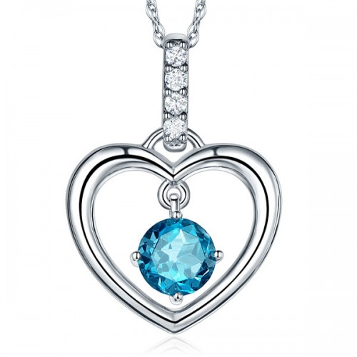 Fine 14K White Gold London Blue Topaz Heart Pendant Necklace 0.04 Ct Diamond