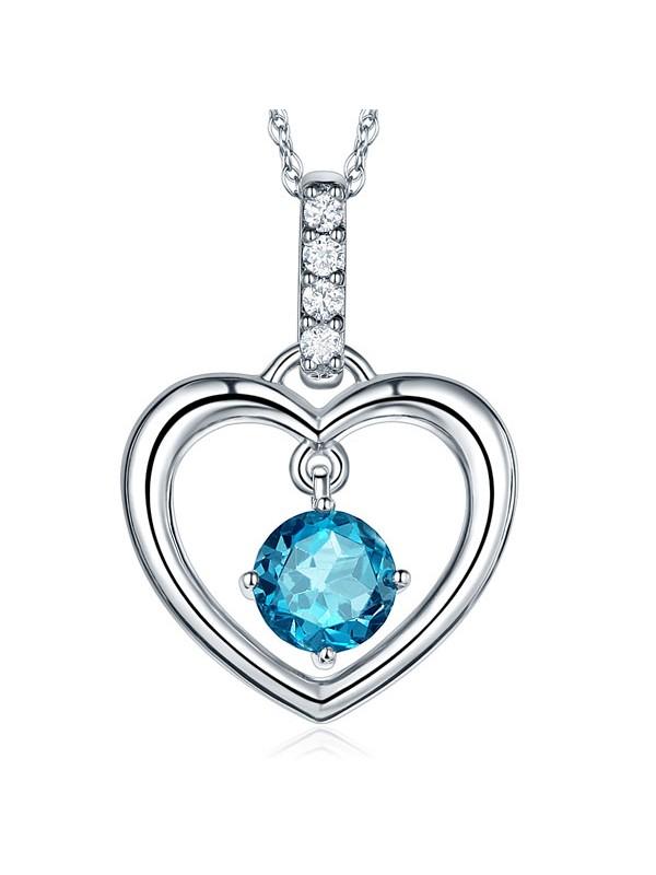 Fine 14K White Gold London Blue Topaz Heart Pendant Necklace 0.04 Ct Diamond