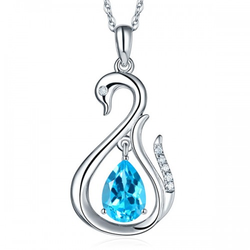 14K White Gold 2.5 Ct Swiss Blue Topaz Swan Pendant Necklace 0.06 Ct Diamond