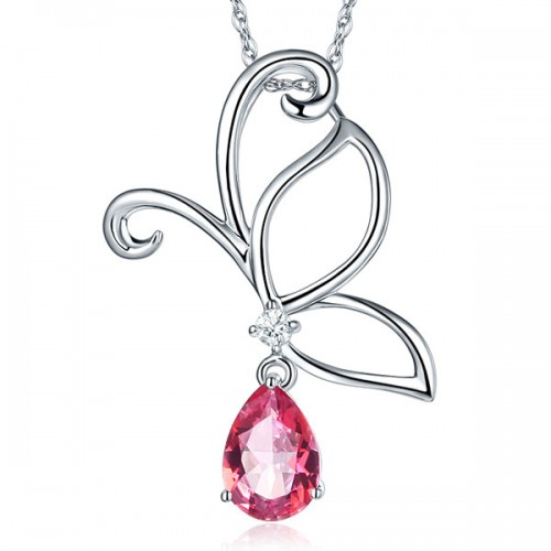 14K White Gold Pink Topaz Butterfly Pendant Necklace