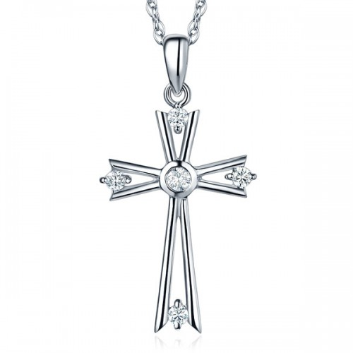 Fine 14K White Gold Cross Pendant Necklace 0.21 Ct Diamond Jewelry