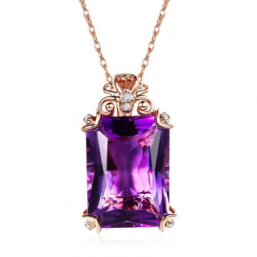 Vintage Style 14K Rose Gold 10.5 Ct Amethyst Pendant Necklace 0.1 Ct Diamond