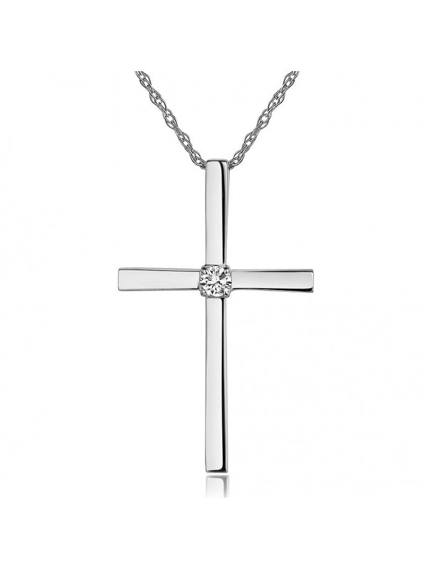 14K White Gold Cross Pendant Necklace 0.08 Ct Diamonds