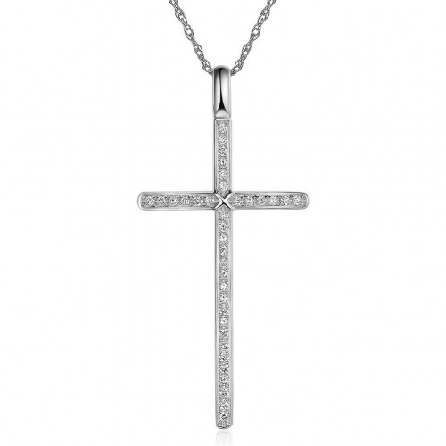14K White Gold Cross Pendant Necklace 0.3 Ct Diamonds