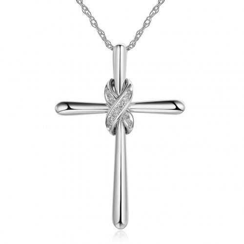 14K White Gold Cross Pendant Necklace 0.057 Ct Diamonds