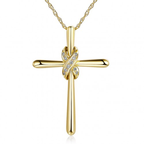 14K Yellow Gold Cross Pendant Necklace 0.04 Ct Diamonds