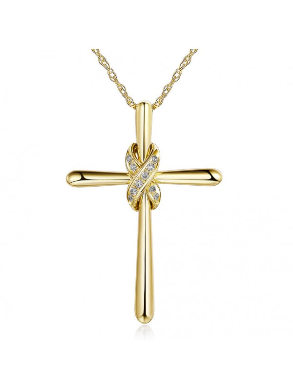 14k yellow gold cross pendant necklace 004 ct diamonds 14k yellow gold cross pendant necklace 004 ct diamonds aloadofball Gallery