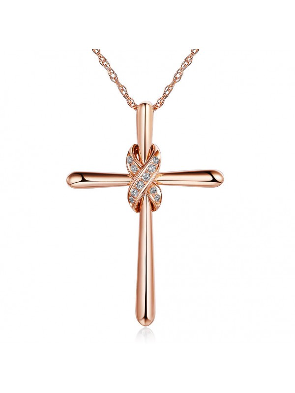 14k rose gold cross pendant necklace. Black Bedroom Furniture Sets. Home Design Ideas
