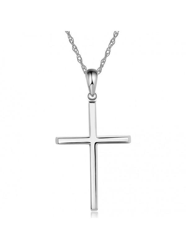 Plain 14k white gold cross pendant necklace plain 14k white gold cross pendant necklace aloadofball Choice Image