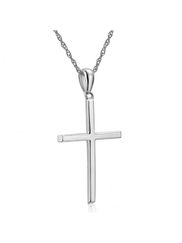 Plain 14k white gold cross pendant necklace plain 14k white gold cross pendant necklace aloadofball Image collections