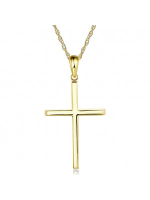Plain 14K Yellow Gold Cross Pendant Necklace