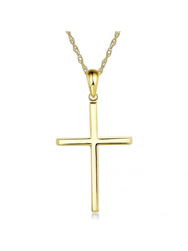 Plain 14K Yellow Gold Cross Pendant Necklace