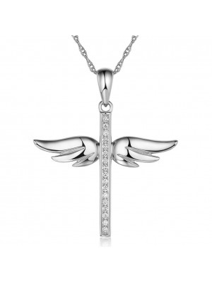 14K White Gold Angel Wing Cross Pendant Necklace 0.15 Ct Diamonds