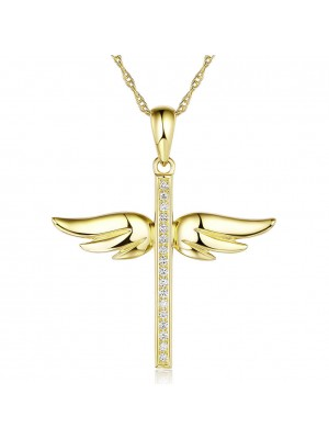 14K Yellow Gold Angel Wing Cross Pendant Necklace 0.15 Ct Diamonds