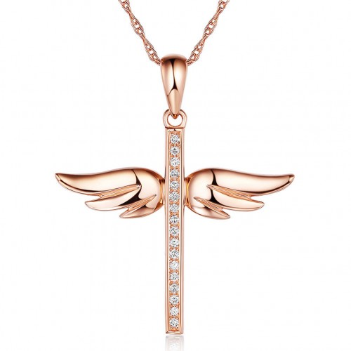 14K Rose Gold Angel Wing Cross Pendant Necklace 0.08 Ct Diamonds