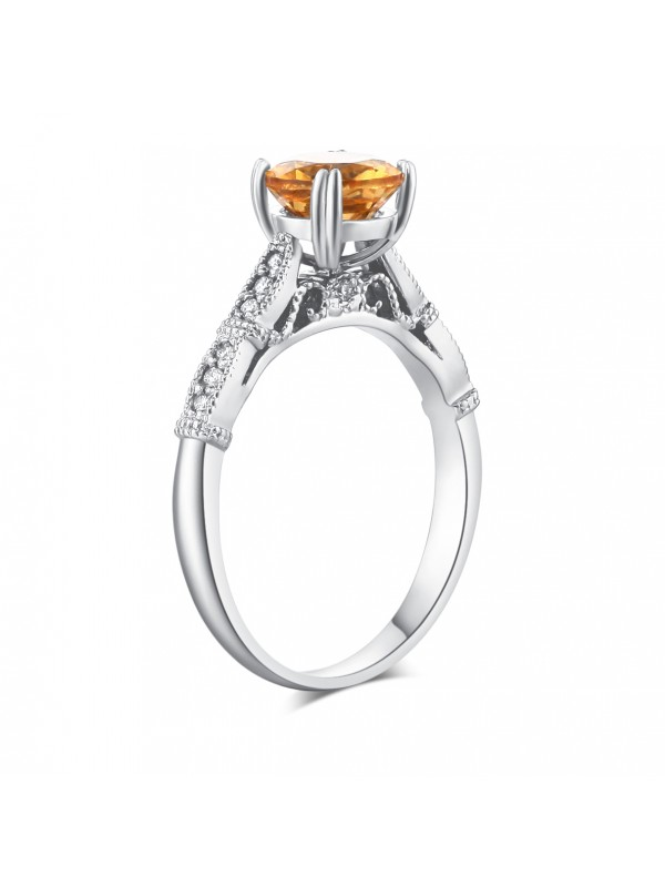 Vintage Style 14K White Gold Engagement Ring 1.2 Ct Citrine Natural Diamonds