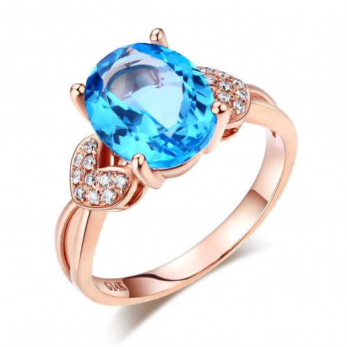 14K Rose Gold Wedding Engagement Ring 3.5 Ct Swiss Blue Topaz & Natural Diamond