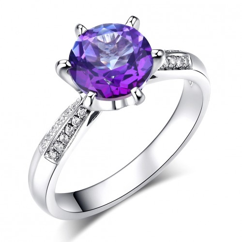 14K White Gold Wedding Engagement Ring 2 Ct Purple Topaz 0.1 Ct Natural Diamonds