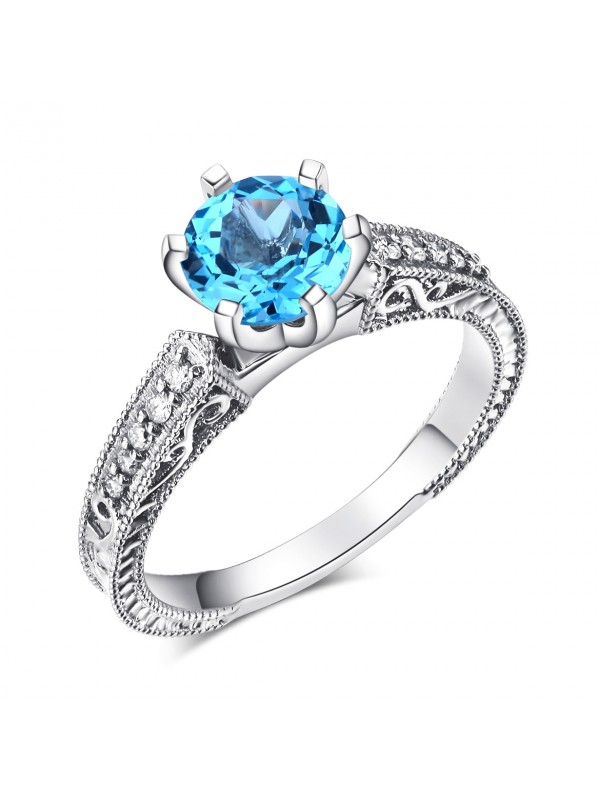 14K White Gold Vintage Wedding Engagement Ring Swiss Blue Topaz Natural Diamond
