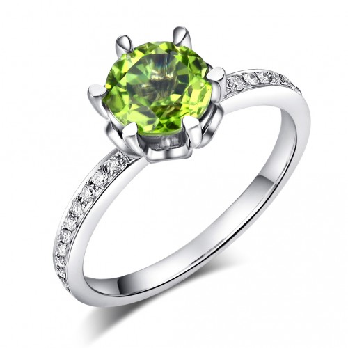 14K White Gold Wedding Engagement Ring 1.4 Ct Peridot 0.14 Ct Natural Diamonds