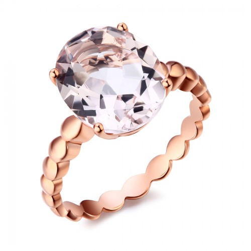 14K Rose Gold Solitaire Wedding Engagement Ring 3.3 Ct Natural Peach Color Morganite