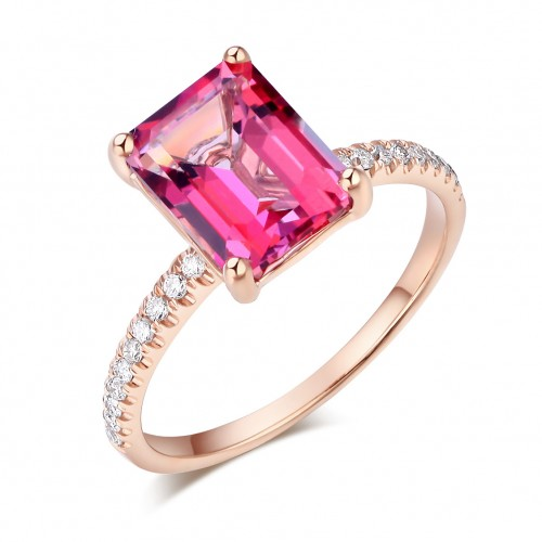 14K Rose Gold Wedding Engagement Ring 2.8 Ct Pink Topaz 0.16 Ct Natural Diamonds