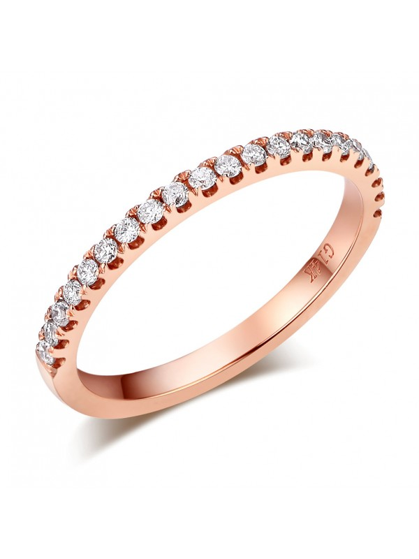14K Rose Gold Stackable Wedding Band Ring Half Eternity 0.22 Ct Natural Diamonds