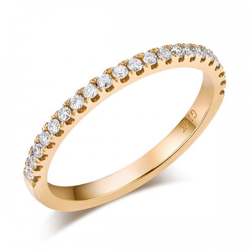 14K Yellow Gold Stackable Wedding Band Ring Half Eternity 0.2 Ct Natural Diamond