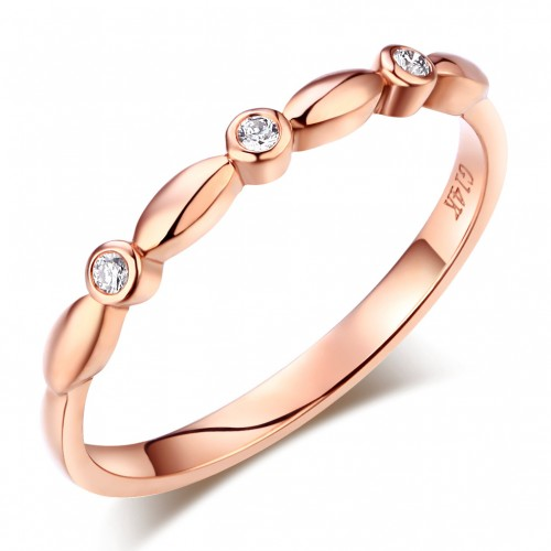 14K Solid Rose Gold Wedding Band Stackable Ring 0.03 Ct Diamond
