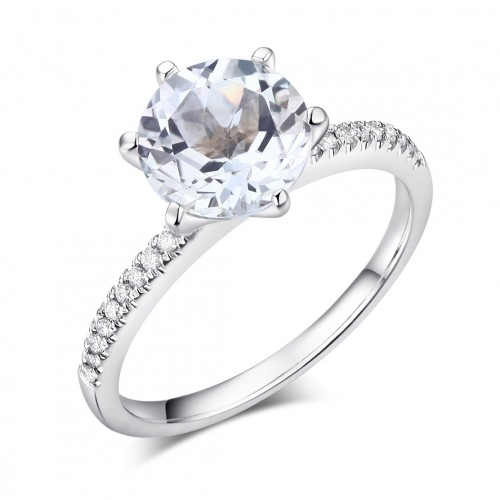 14K White Gold Wedding Engagement Ring 2 CT Topaz 0.12 CT Natural Diamond