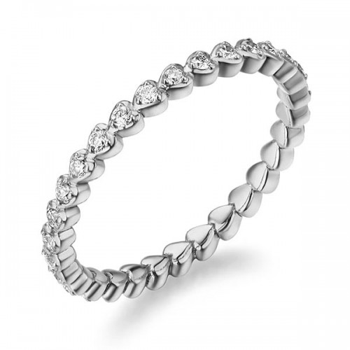 14K Solid White Gold Heart Eternity Wedding Band Stacking Ring 0.33 Ct Diamonds