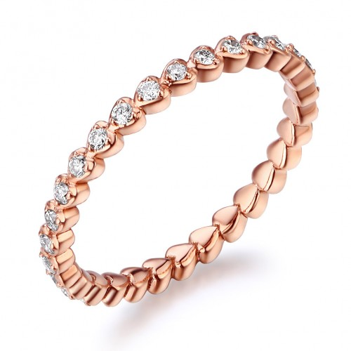14K Solid Rose Gold Heart Eternity Wedding Band Stacking Ring 0.33 Ct Diamonds