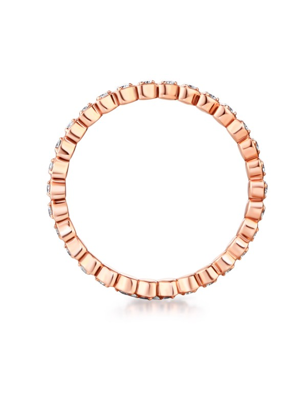 Solid Rose Gold Heart Eternity Wedding Band Stacking Ring 0 33 Ct