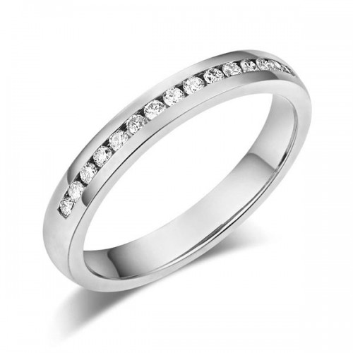 14K Solid White Gold Wedding Band Half Eternity Ring 0.17 Ct Diamonds